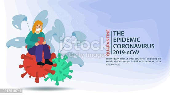 banner, little people in a mask, with a Cup of tea, sitting on a large molecule COVID-2019, virus 2019-nCoV, flat vector illustration
