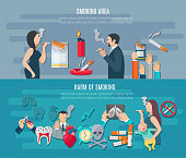 Smoking horizontal banner set with addiction hazard elements isolated vector illustration