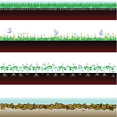 Soil cutaway. field of grass, flowers and stones. Vector Illustration