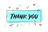 Banner speech bubble. Speech bubble concept in geometric style with text Thank You. Icon message cloud talk for banner, poster, web. Thank you for Thanksgiving Day. Vector Illustration