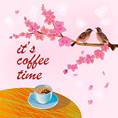 Banner spring leaves blooming cherry blossom. Coffee on the table in the spring. Time to drink coffee.