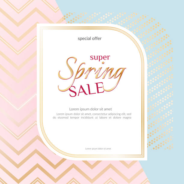 banner spring sale elegant golden specks zigzag pink background luxury card banner for advertising sale promotions discounts beautiful spring summer theme of fashion advertising sale discount vector - spring fashion stock illustrations, clip art, cartoons, & icons