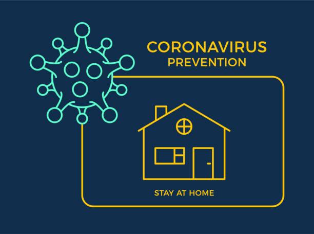 ilustraciones, imágenes clip art, dibujos animados e iconos de stock de banner permanecer en casa icono prevención coronavirus. concept protection covid-19 sign vector illustration. covid-19 fondo de diseño de prevención. - stay home