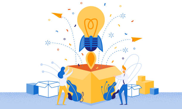 Banner Successful Launch New Idea Cartoon Flat. Banner Successful Launch New Idea Cartoon Flat. Incandescent in Form Rocket Takes off from Large Box. Man and Woman Rejoice at Launch New Successful Idea or Project. Vector Illustration. publicity event stock illustrations