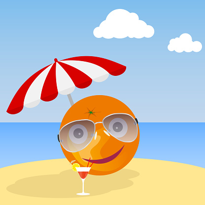 Banner summer. Banner of summer holidays in the form of an orange with glasses under a beach umbrella.