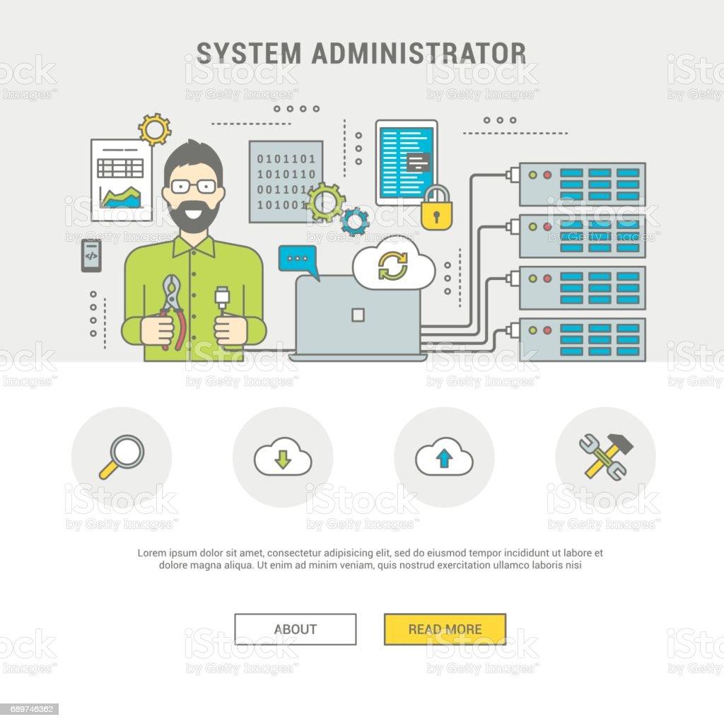 Banner system administrator configuring server vector art illustration