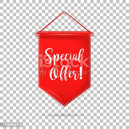 Banner tag special offer with shadow on isolated background, vector