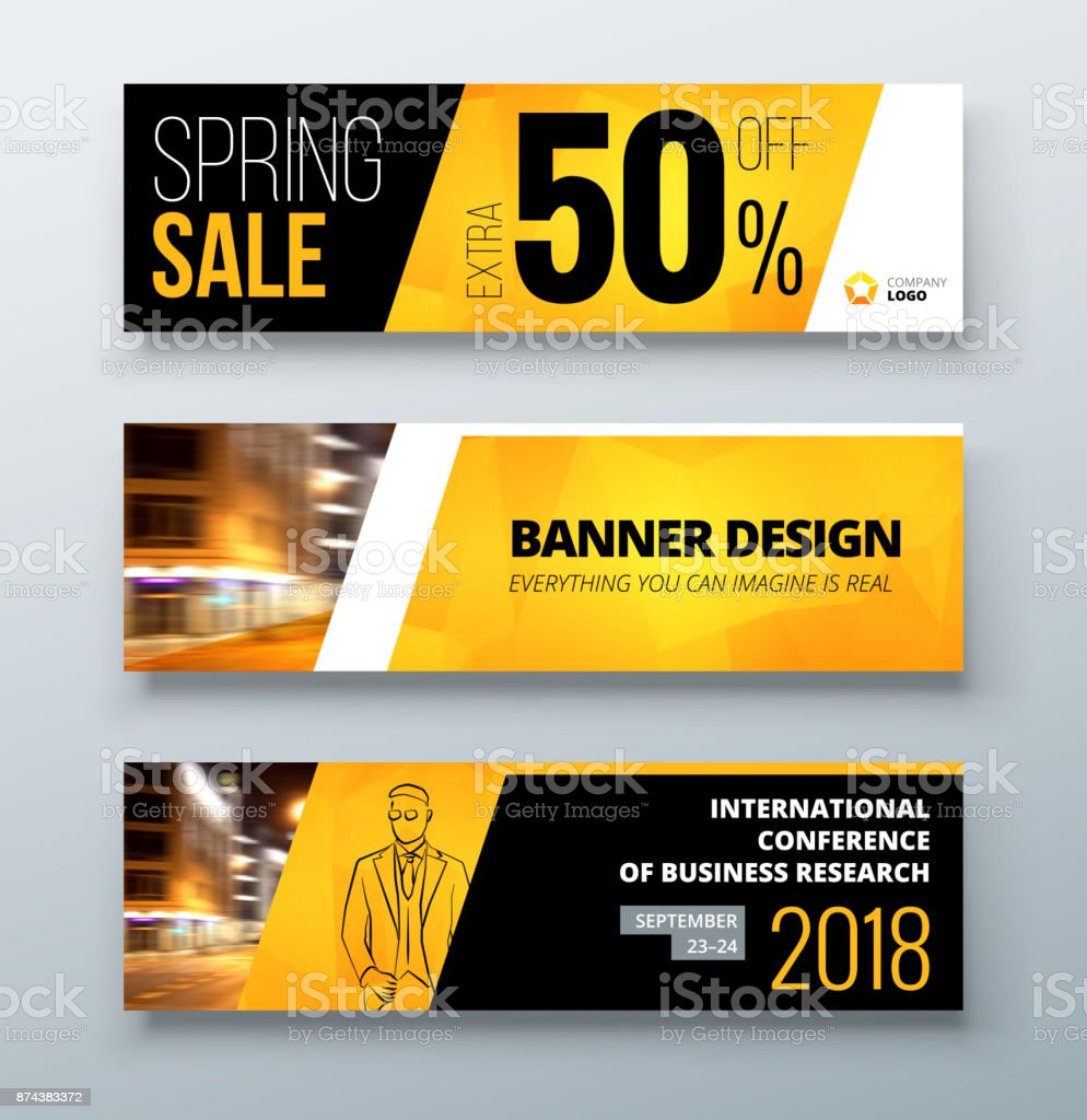 conceptual site model template - banner template design presentation concept black yellow