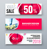 Banner template design. Presentation concept. Pink Corporate business banner template background. Horizontal banner stand or flag design layout. For conference, forum, shop, web site.