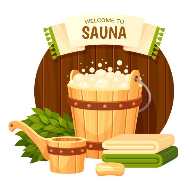 stockillustraties, clipart, cartoons en iconen met banner sjabloon voor sauna cartoon kleurrijke vector illustratio - sauna