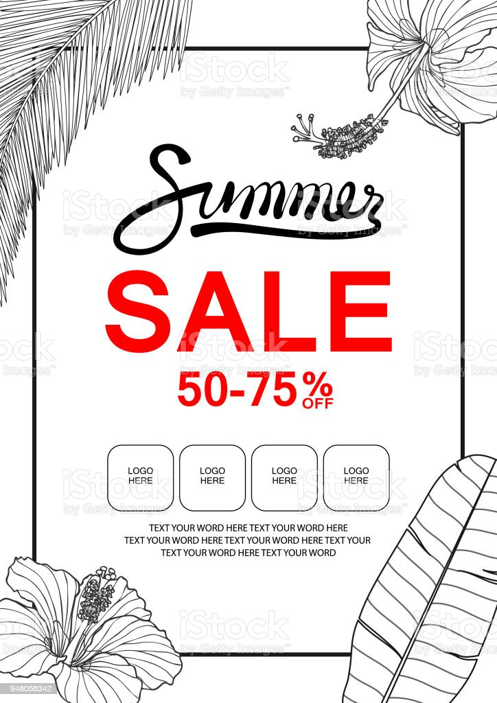 banner template for summer sale with hibiscus banana leaf and