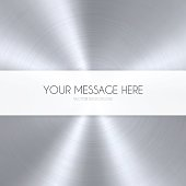 Banner template on an metal texture background. Circular brushed metal texture.