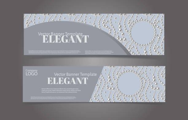 banner-vorlage-set mit perlenmuster hintergrund. elegantes design. - hochzeitsanstecker stock-grafiken, -clipart, -cartoons und -symbole