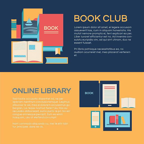 Banner template with books Banners template vector with books. Collection of elements: open book, e-book, online library, a stack of books. Illustration of book club. Background for invitation cards, web pages, covers, posters. book club stock illustrations