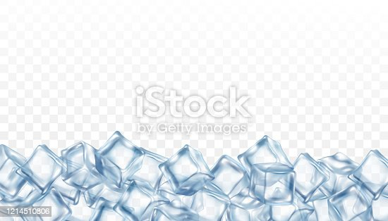 istock Banner template with clear blue ice cubes realistic vector illustration isolated. 1214510806