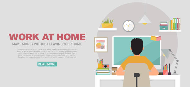 banner template with young man working at home, vector illustration - working from home stock illustrations