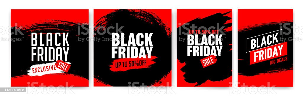 Banner templates for black friday. Promotion banner, offer, sale. Banner templates for black friday. Promotion banner, offer, sale. Templates for web banners, flyers, poster. Black, red and white color. Black Friday text. Texture, vector strokes. Advertisement stock vector