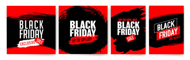 Banner templates for black friday. Promotion banner, offer, sale. Banner templates for black friday. Promotion banner, offer, sale. Templates for web banners, flyers, poster. Black, red and white color. Black Friday text. Texture, vector strokes. black friday sale stock illustrations