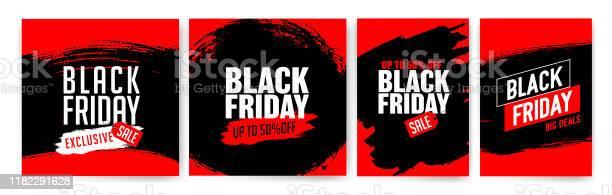 Banner Templates For Black Friday Promotion Banner Offer Sale Stock Illustration - Download Image Now