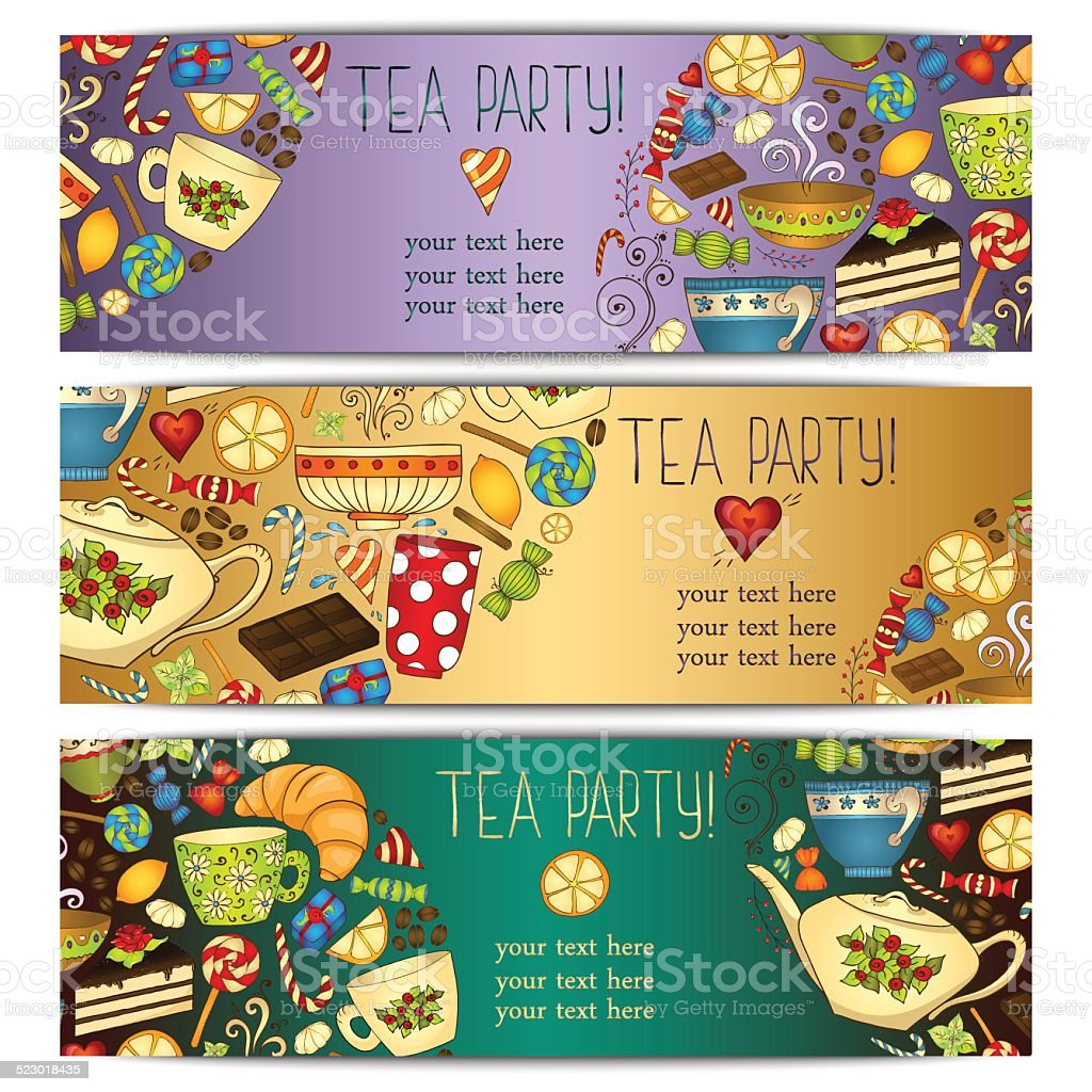 banner templates vector collection tea party stock vector art more