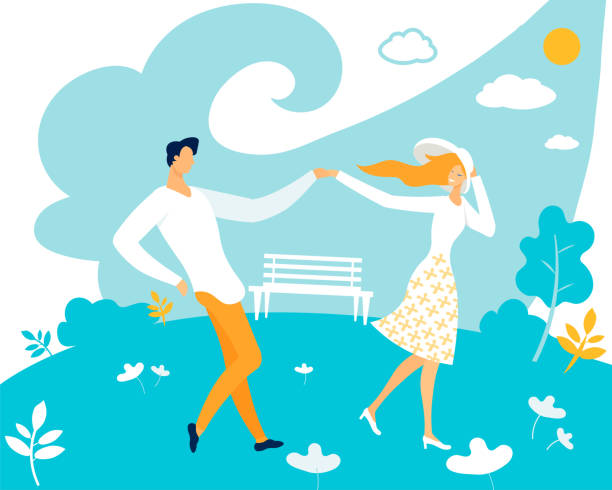 Banner Tender Relationship Couple in Love Flat. Banner Tender Relationship Couple in Love Flat. Two People, Each which Retains its own Aspirations. Bride and Groom in Elegant Clothes are Dancing Merrily in Clearing. Vector Illustration. boyfriend stock illustrations