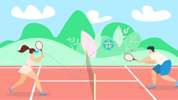 banner tennis spiel entwicklung strategie lettering. - wimbledon stock-grafiken, -clipart, -cartoons und -symbole