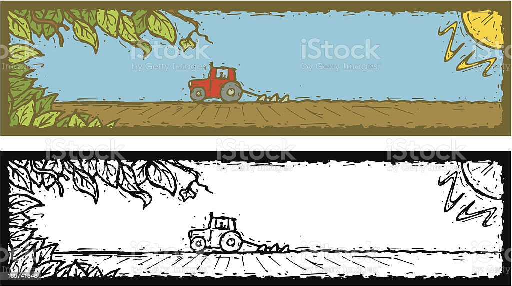 Banner Tractor Field and Leaves royalty-free stock vector art