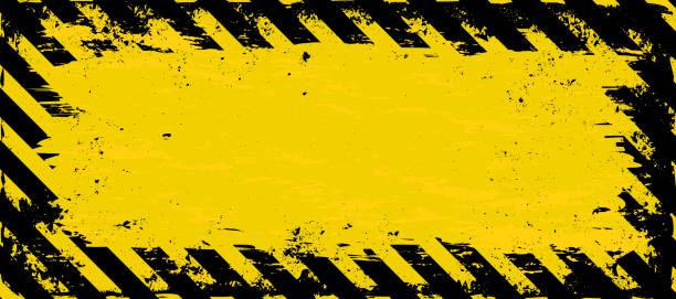 banner grunge banner with warning symbol and copy space road warning sign stock illustrations