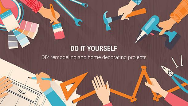 DIY banner DIY banner with tools set, and team working together hands close up, vintage colors diy stock illustrations