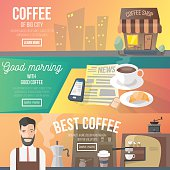 Set of 3 different coffee web banners for website or print materials design