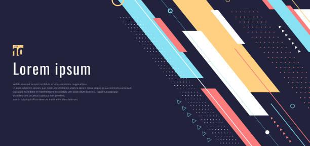 banner web design vorlage dynamische geometrische muster diagonalstreifen linienelemente auf blauem hintergrund - designelement stock-grafiken, -clipart, -cartoons und -symbole