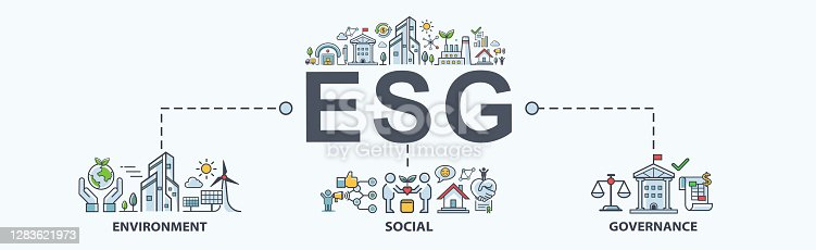 istock ESG banner web icon for business and organization, Environment, Social, Governance, corporate sustainability performance for investment screening. 1283621973