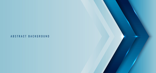 Banner web template blue angle arrow overlapping layer with lighting background