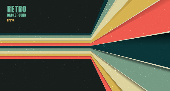 Banner web template design abstract background pattern stripe perspective vintage retro color style on black background