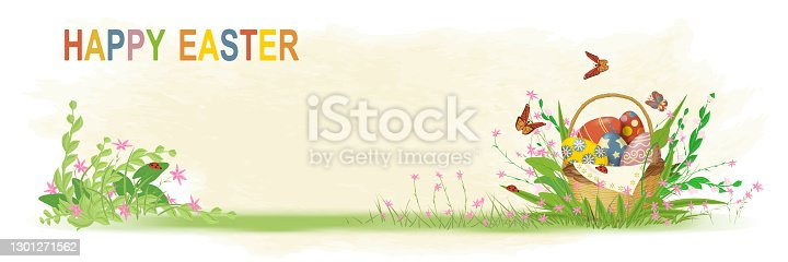 Banner with a basket of Easter eggs on the grass with spring flowers. The inscription in colorful letters Happy Easter. Design on a watercolor background. Vector illustration in vintage style.
