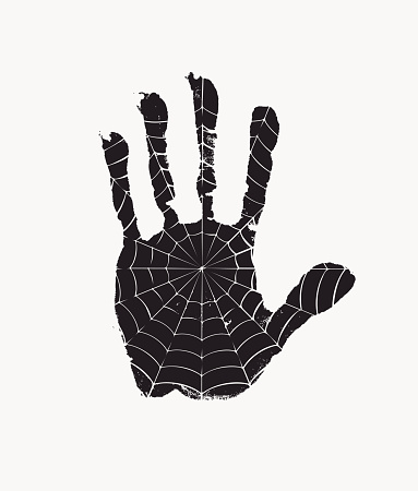 banner with a black handprint with a spider web