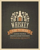 banner with a bottle of whiskey in retro style