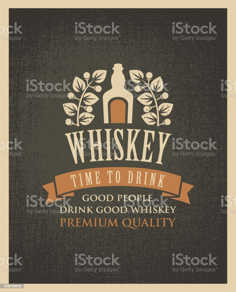banner with a bottle of whiskey in retro style vector art illustration
