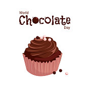 A banner with a cupcake for the World Chocolate Day. Vector cartoon illustration with chocolate muffin and sugar pearls on a white background