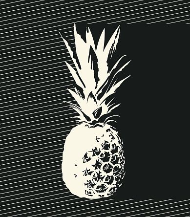 banner with a decorative pineapple and inscription
