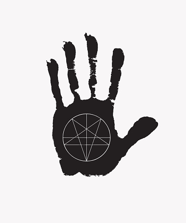 banner with a handprint with an inverted pentagram