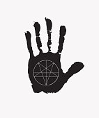 Black print of a human hand with royalty symbol Fleur de Lis on the open palm. Vector black and white hand-drawn banner in retro style