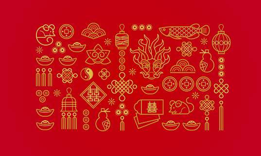 Banner with a outline symbols in the Chinese style.