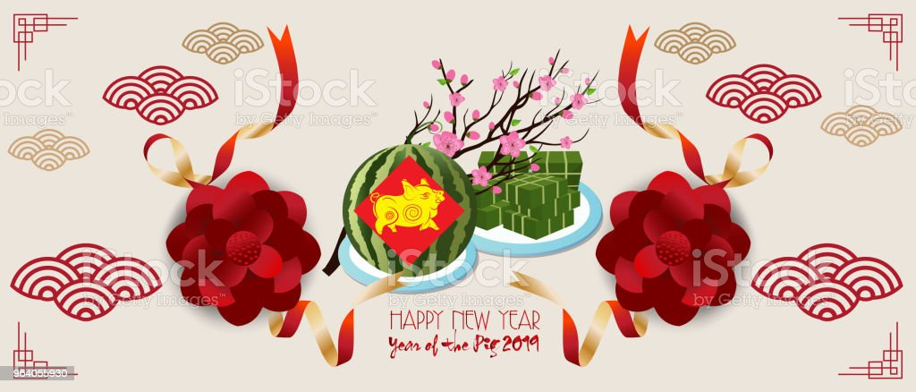 Banner with a pig in the style of the tribe and the text of the new year - Royalty-free 2019 stock vector