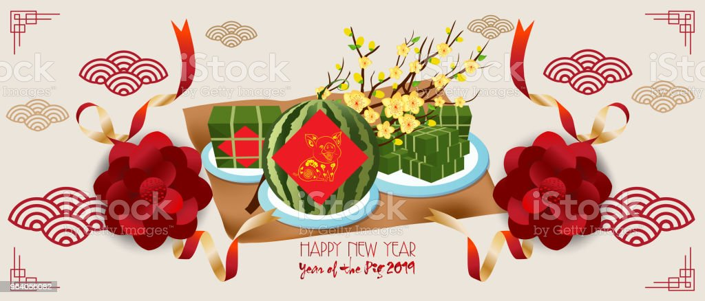 Banner with a pig in the style of the tribe and the text of the new year 2019 - Royalty-free 2019 stock vector
