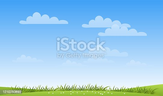 A banner with a simple spring landscape, a meadow with green grass and a blue sky with clouds and copy space. Modern summer background with place for text. Flat cartoon vector illustration