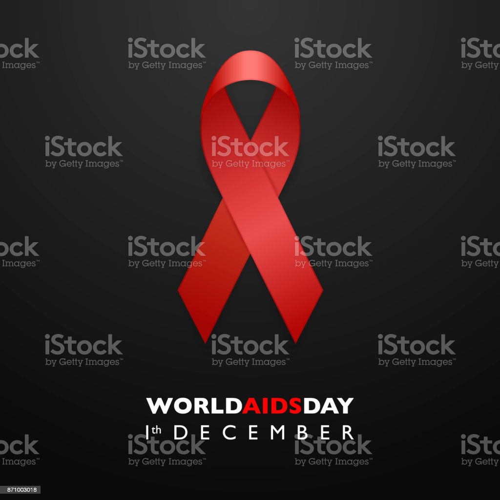 Banner with Aids Awareness Red Ribbon. Aids Day concept. Design template for websites magazines, infographics, advertising. EPS10 vector illustration vector art illustration