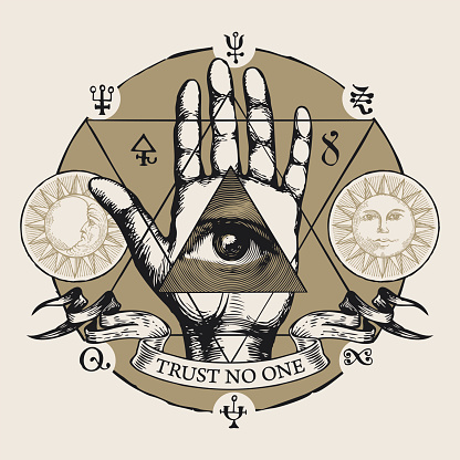 banner with all seeing eye symbol on an open palm