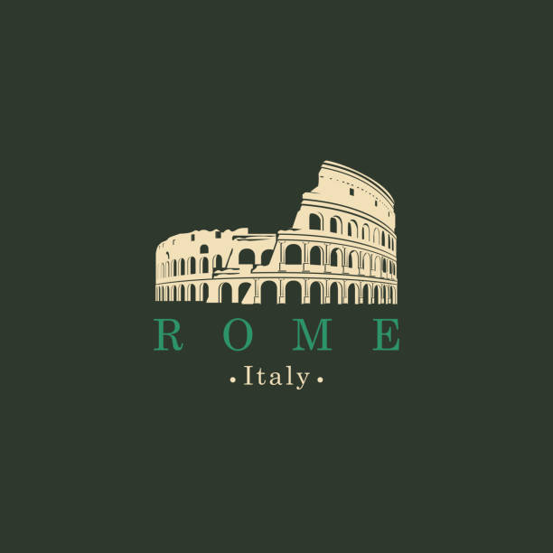 Banner with ancient amphitheater Coliseum in Rome Travel vector banner or logo. Ancient amphitheater Colosseum in Rome, Italy. The monument of architecture of Ancient Rome, the Italian national landmark coliseum rome stock illustrations