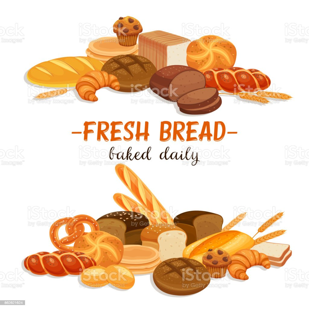Banner with bread products vector art illustration